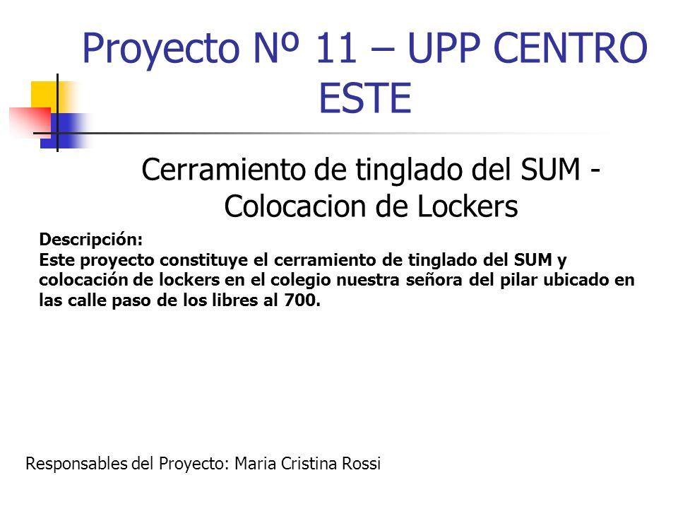 Proyecto Nº 11 – UPP CENTRO ESTE