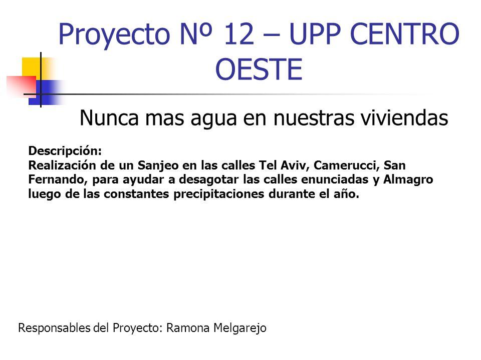 Proyecto Nº 12 – UPP CENTRO OESTE