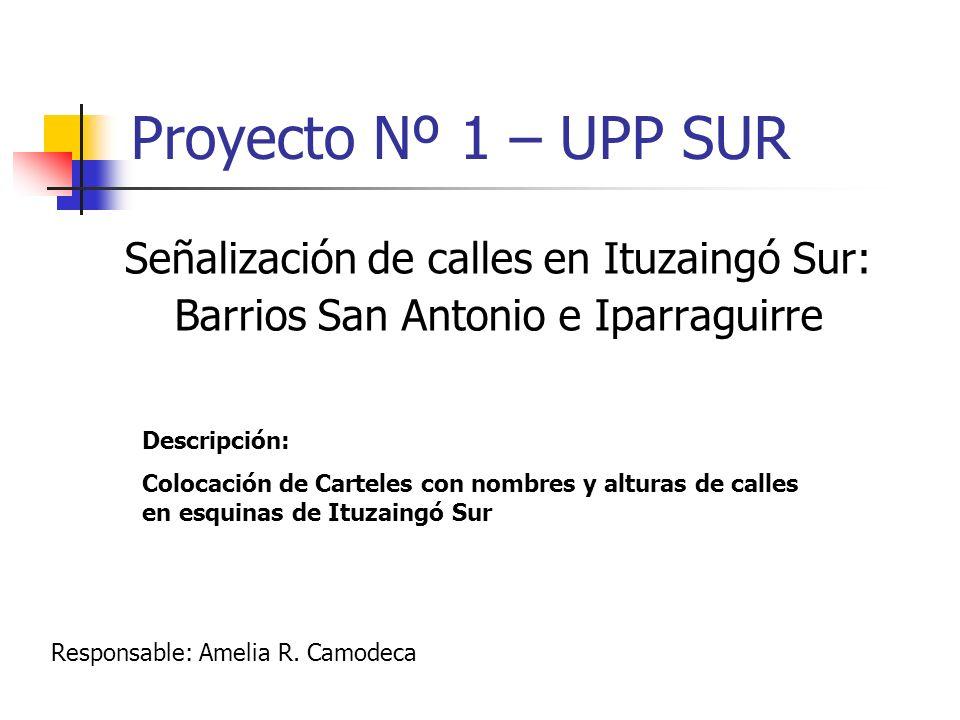 Proyecto Nº 1 – UPP SUR Señalización de calles en Ituzaingó Sur: