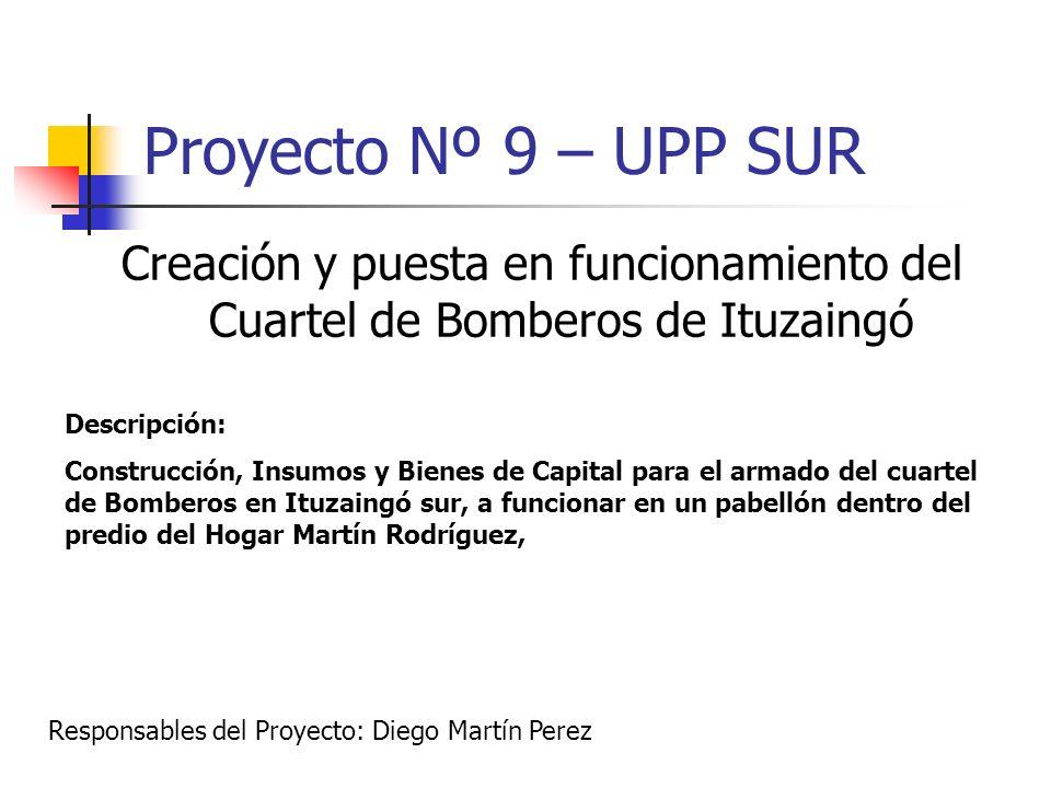 Proyecto Nº 9 – UPP SUR Creación y puesta en funcionamiento del Cuartel de Bomberos de Ituzaingó. Descripción: