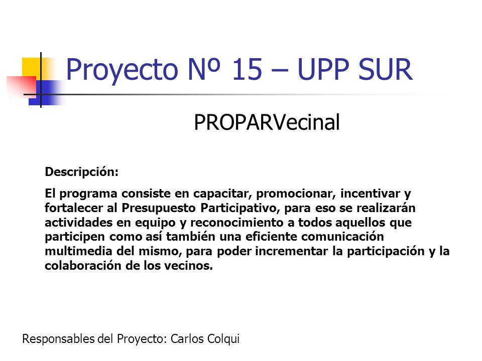 Proyecto Nº 15 – UPP SUR PROPARVecinal Descripción: