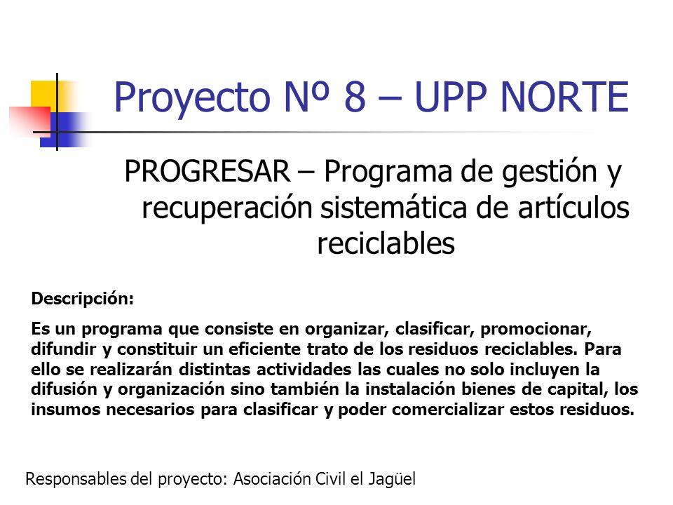 Proyecto Nº 8 – UPP NORTE PROGRESAR – Programa de gestión y recuperación sistemática de artículos reciclables.
