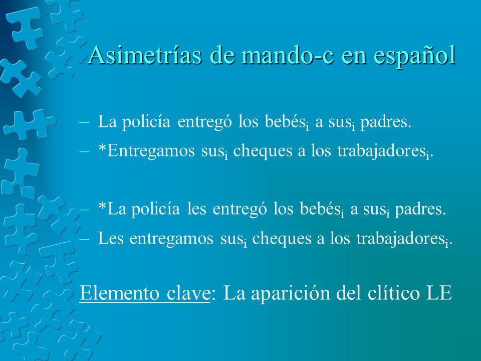 Asimetrías de mando-c en español