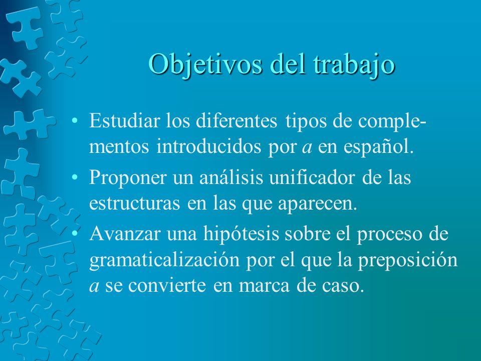 Objetivos del trabajo Estudiar los diferentes tipos de comple-mentos introducidos por a en español.