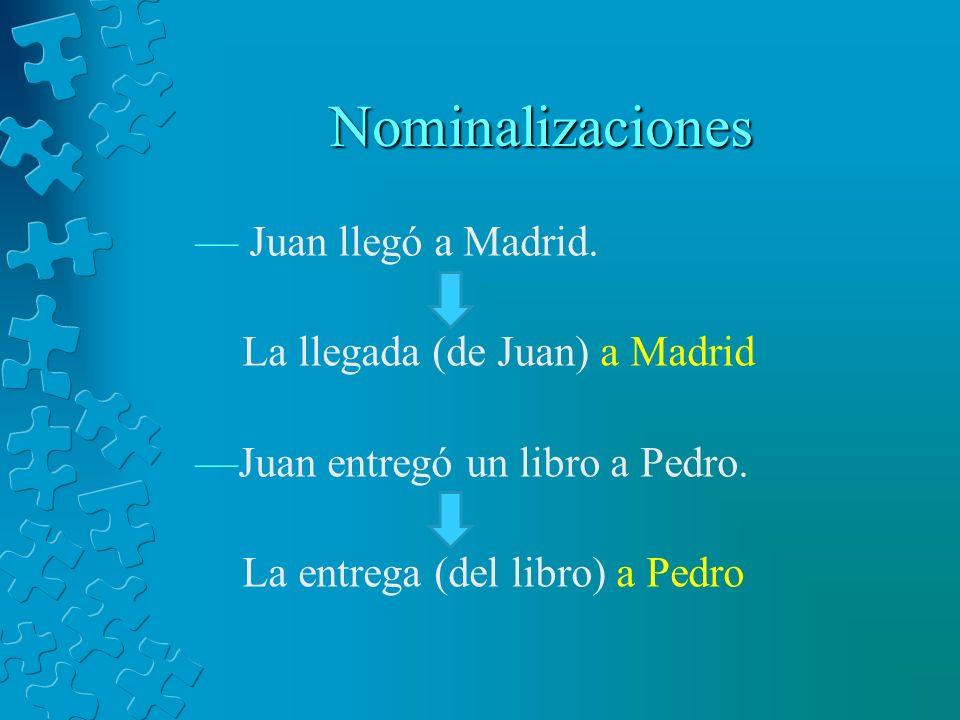 Nominalizaciones Juan llegó a Madrid. La llegada (de Juan) a Madrid