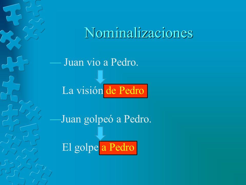 Nominalizaciones Juan vio a Pedro. La visión de Pedro