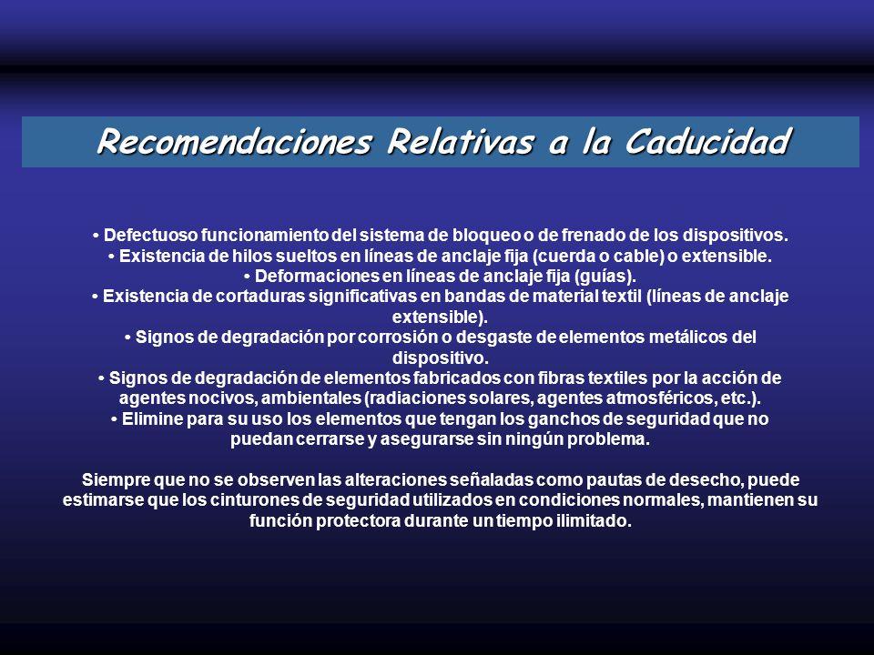 Recomendaciones Relativas a la Caducidad
