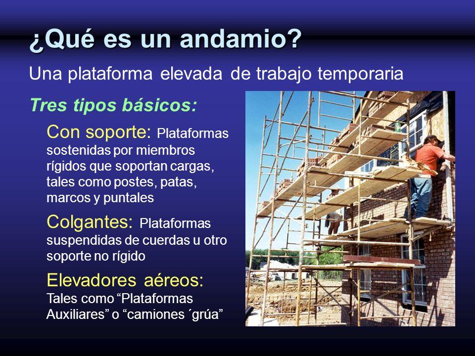 ¿Qué es un andamio Una plataforma elevada de trabajo temporaria