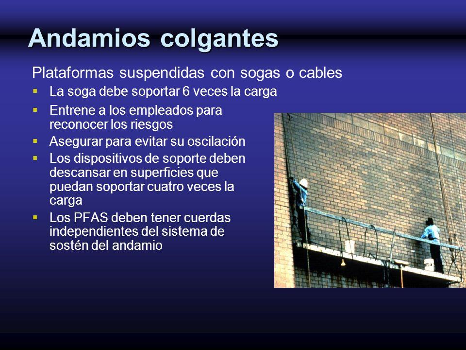 Andamios colgantes Plataformas suspendidas con sogas o cables
