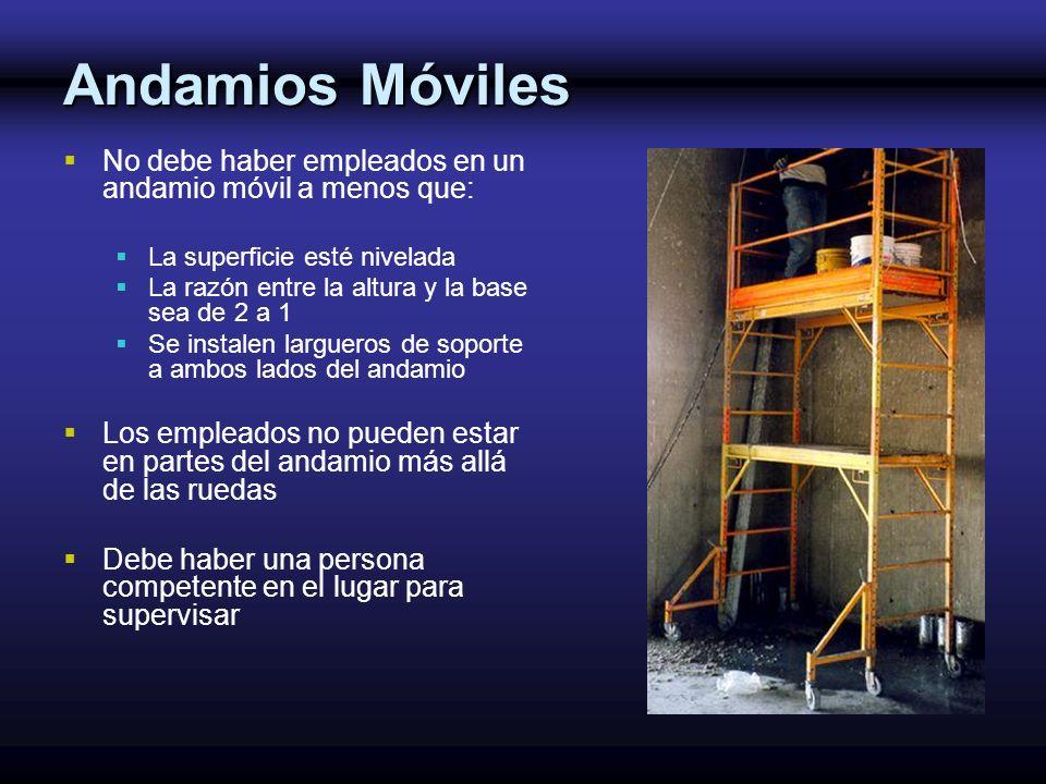Andamios Móviles No debe haber empleados en un andamio móvil a menos que: La superficie esté nivelada.