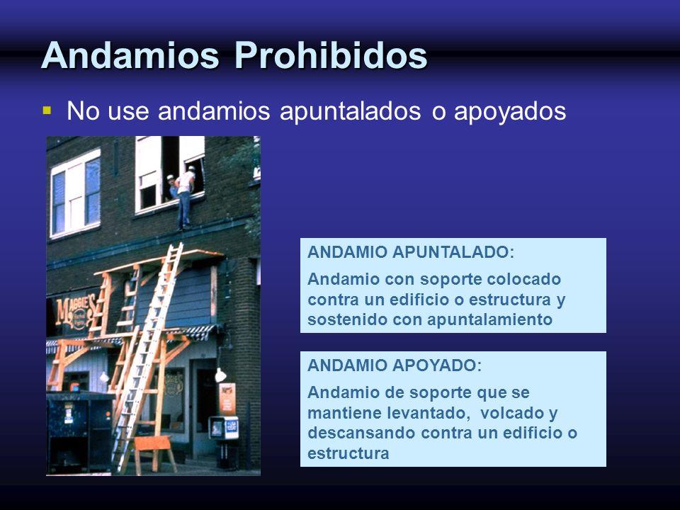 Andamios Prohibidos No use andamios apuntalados o apoyados