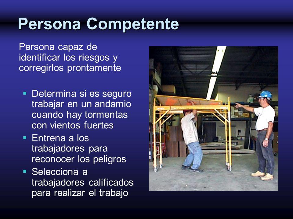 Persona Competente Persona capaz de identificar los riesgos y corregirlos prontamente.