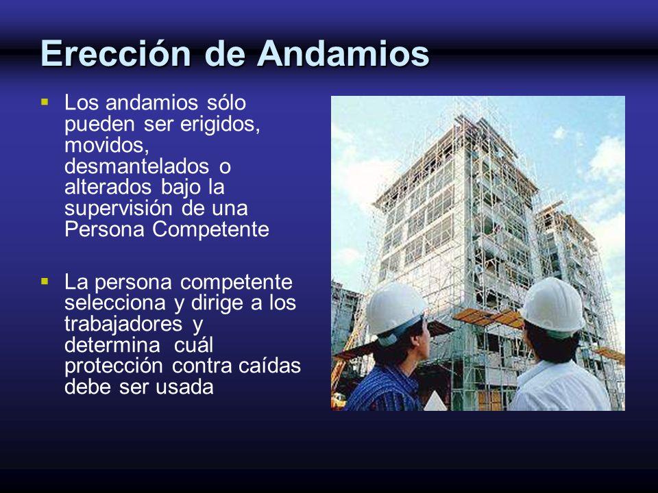 Erección de Andamios Los andamios sólo pueden ser erigidos, movidos, desmantelados o alterados bajo la supervisión de una Persona Competente.
