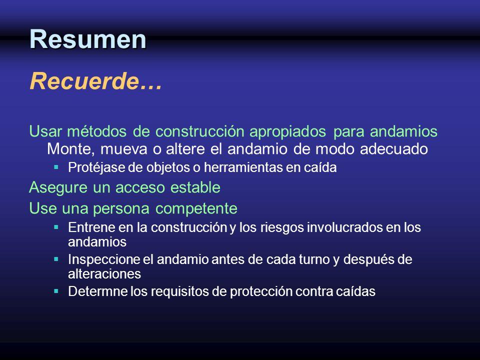 Resumen Recuerde… Usar métodos de construcción apropiados para andamios Monte, mueva o altere el andamio de modo adecuado.