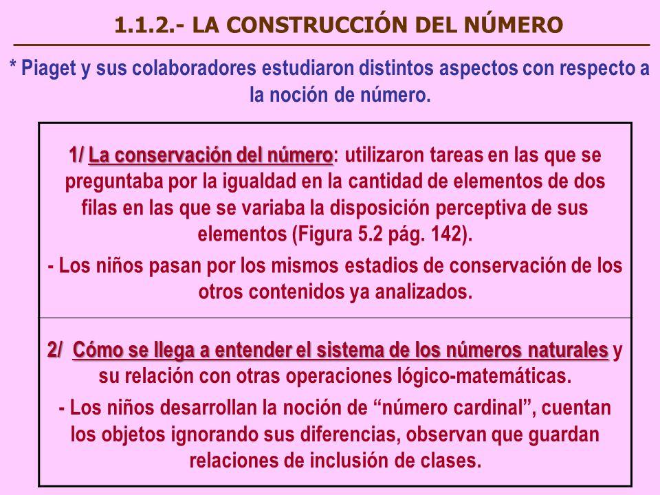 1.1.2.- LA CONSTRUCCIÓN DEL NÚMERO