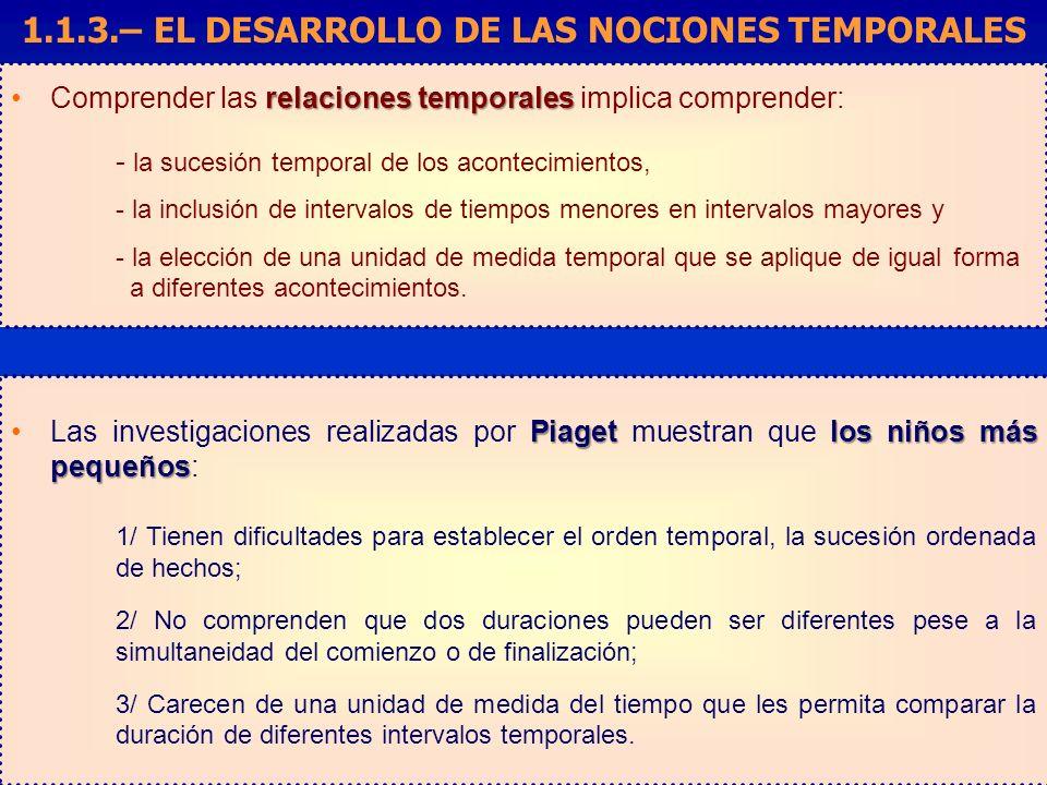 1.1.3.– EL DESARROLLO DE LAS NOCIONES TEMPORALES