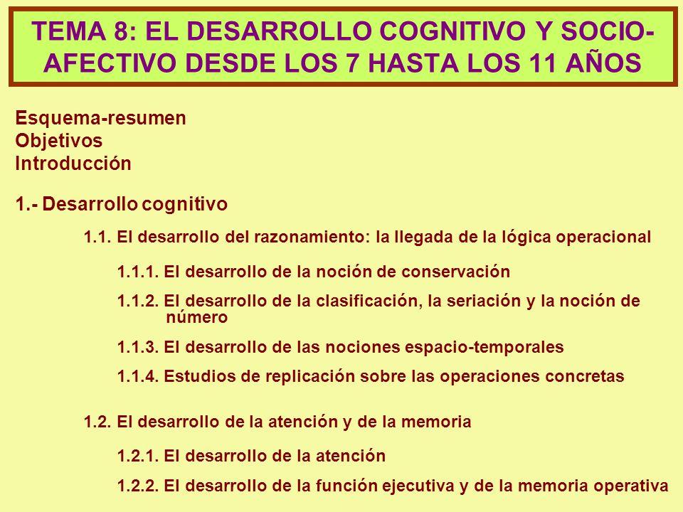 TEMA 8: EL DESARROLLO COGNITIVO Y SOCIO-AFECTIVO DESDE LOS 7 HASTA LOS 11 AÑOS