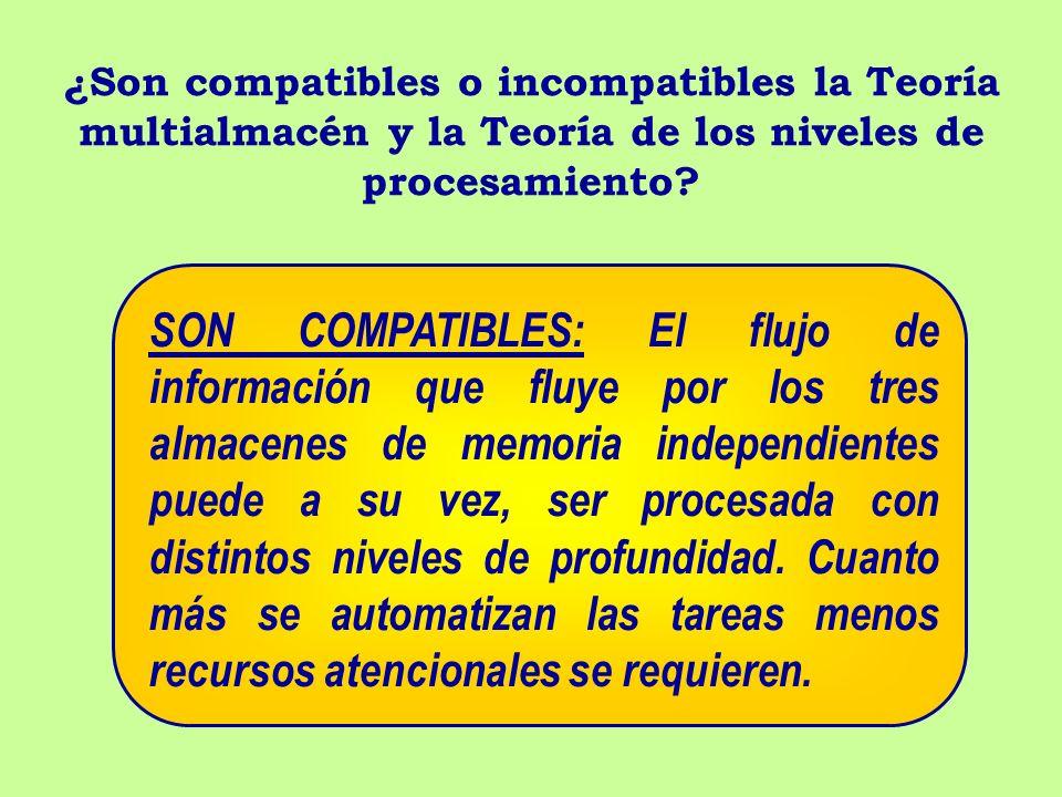¿Son compatibles o incompatibles la Teoría multialmacén y la Teoría de los niveles de procesamiento