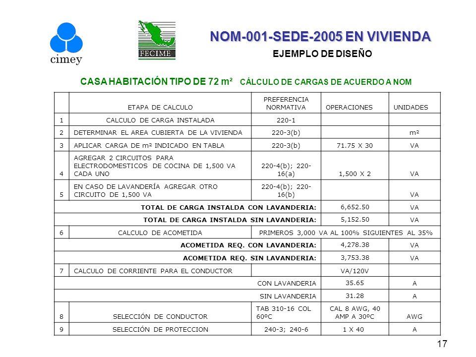 NOM-001-SEDE-2005 EN VIVIENDA EJEMPLO DE DISEÑO