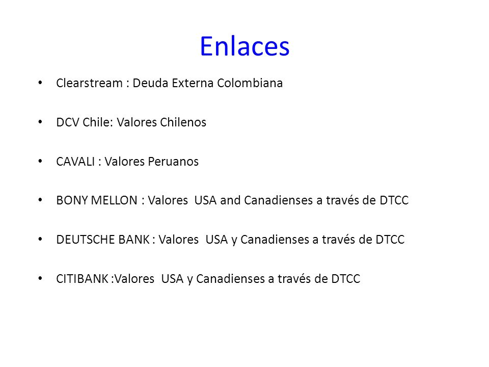 Enlaces Clearstream : Deuda Externa Colombiana