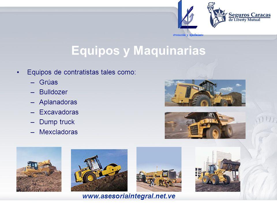Equipos y Maquinarias Equipos de contratistas tales como: Grúas