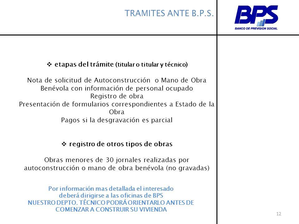 TRAMITES ANTE B.P.S. etapas del trámite (titular o titular y técnico)