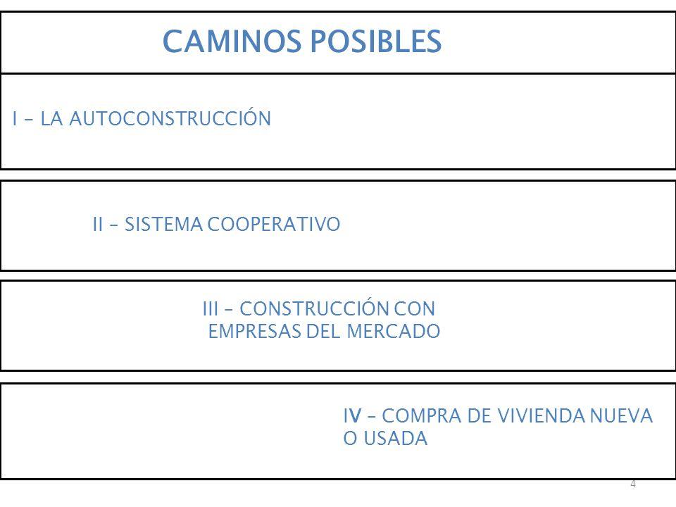 CAMINOS POSIBLES I - LA AUTOCONSTRUCCIÓN II – SISTEMA COOPERATIVO