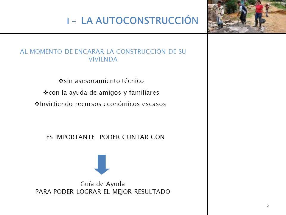 I - LA AUTOCONSTRUCCIÓN