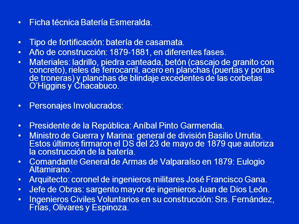 Ficha técnica Batería Esmeralda.