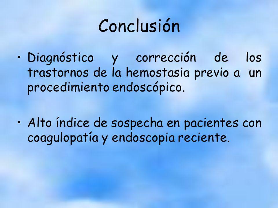 Conclusión Diagnóstico y corrección de los trastornos de la hemostasia previo a un procedimiento endoscópico.