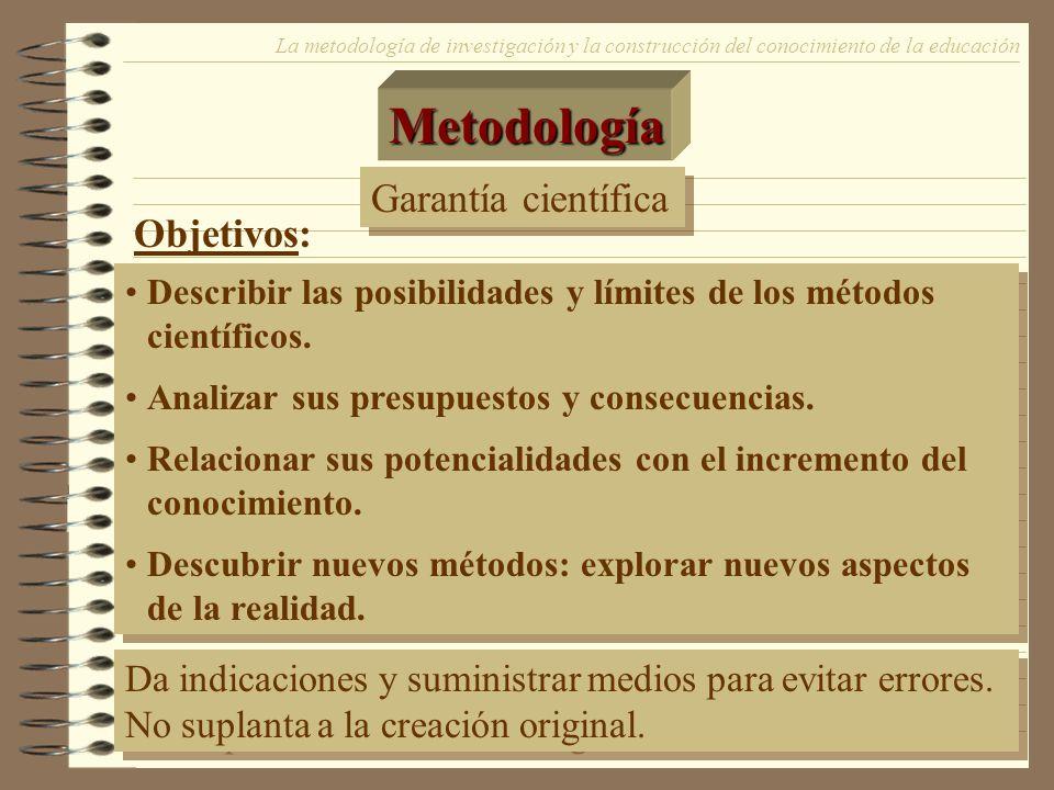Metodología Garantía científica Objetivos: