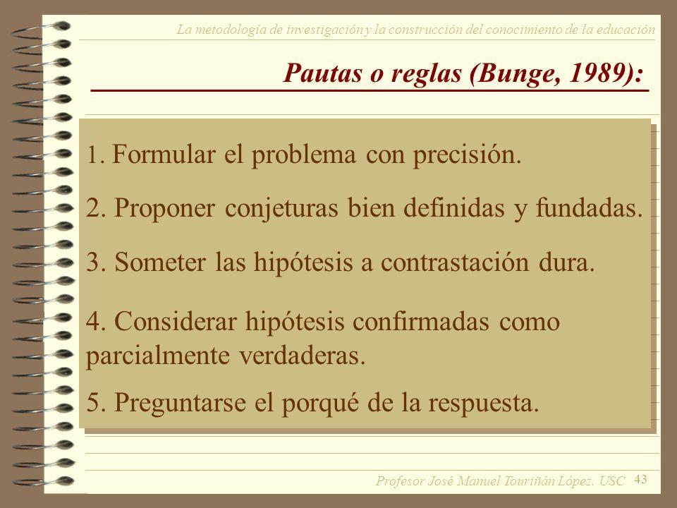 Pautas o reglas (Bunge, 1989):