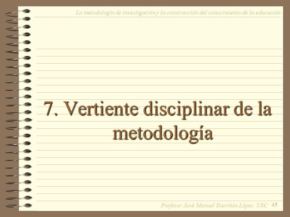 7. Vertiente disciplinar de la metodología