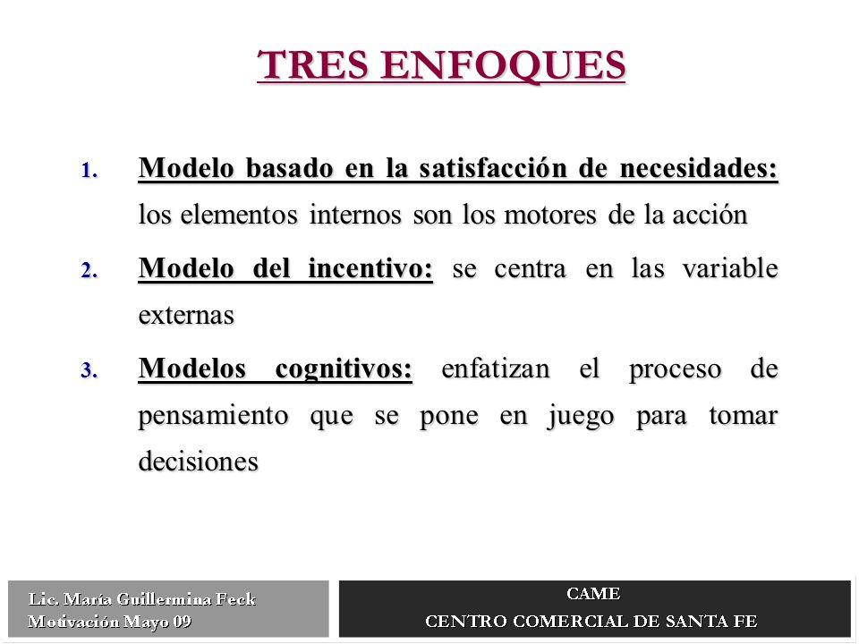 TRES ENFOQUES Modelo basado en la satisfacción de necesidades: los elementos internos son los motores de la acción.