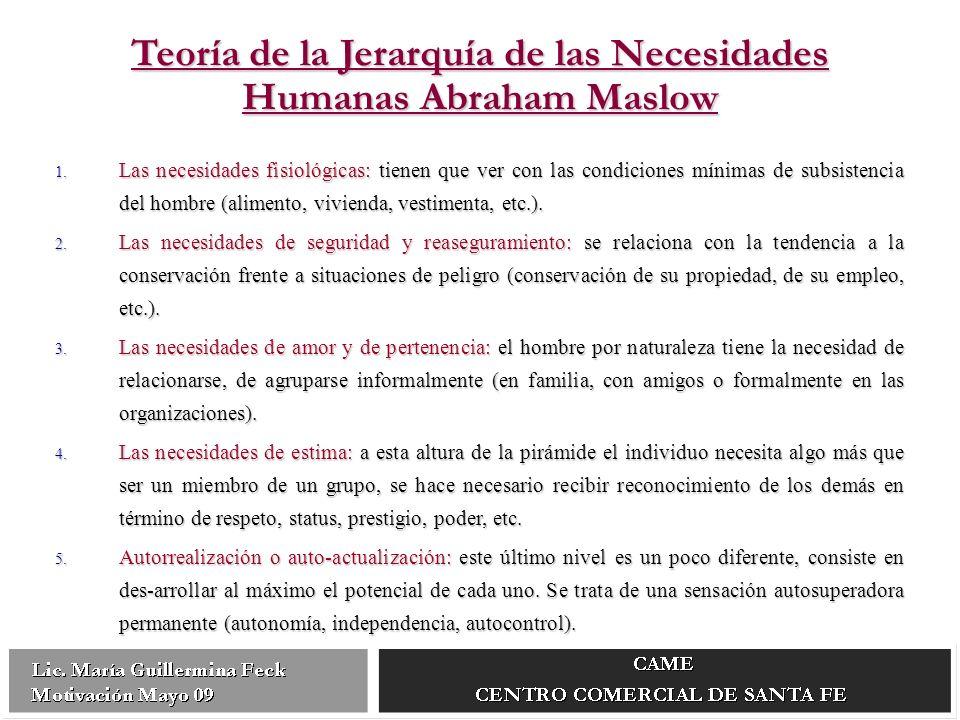 Teoría de la Jerarquía de las Necesidades Humanas Abraham Maslow