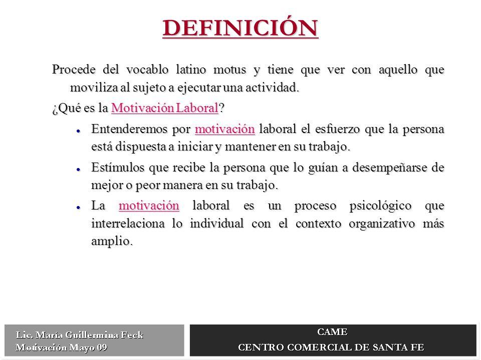 DEFINICIÓN Procede del vocablo latino motus y tiene que ver con aquello que moviliza al sujeto a ejecutar una actividad.