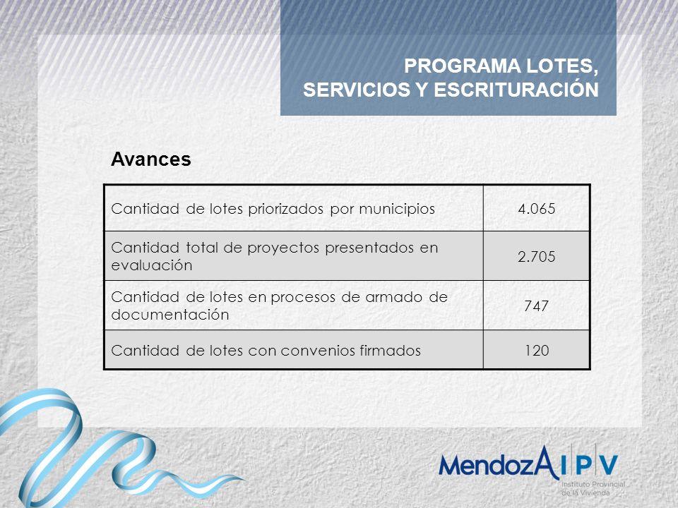 PROGRAMA LOTES, SERVICIOS Y ESCRITURACIÓN