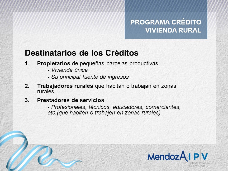 Destinatarios de los Créditos