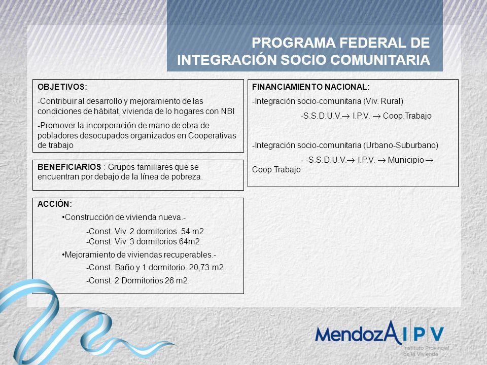 PROGRAMA FEDERAL DE INTEGRACIÓN SOCIO COMUNITARIA