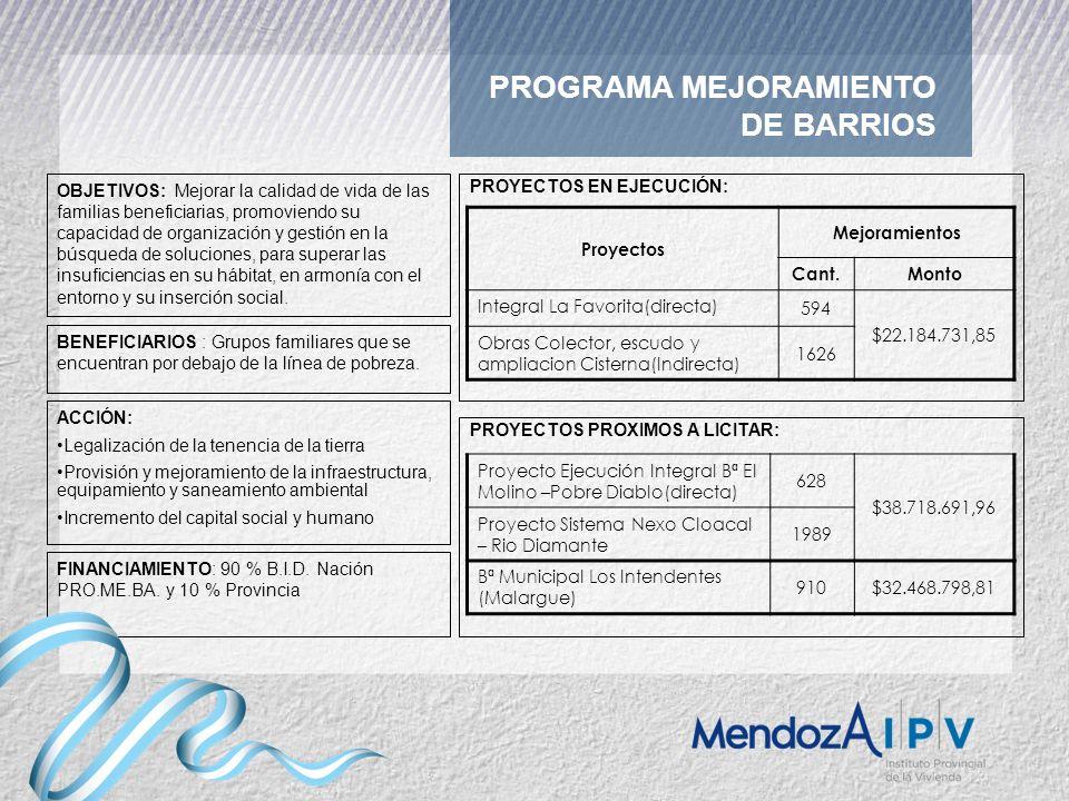 PROGRAMA MEJORAMIENTO DE BARRIOS