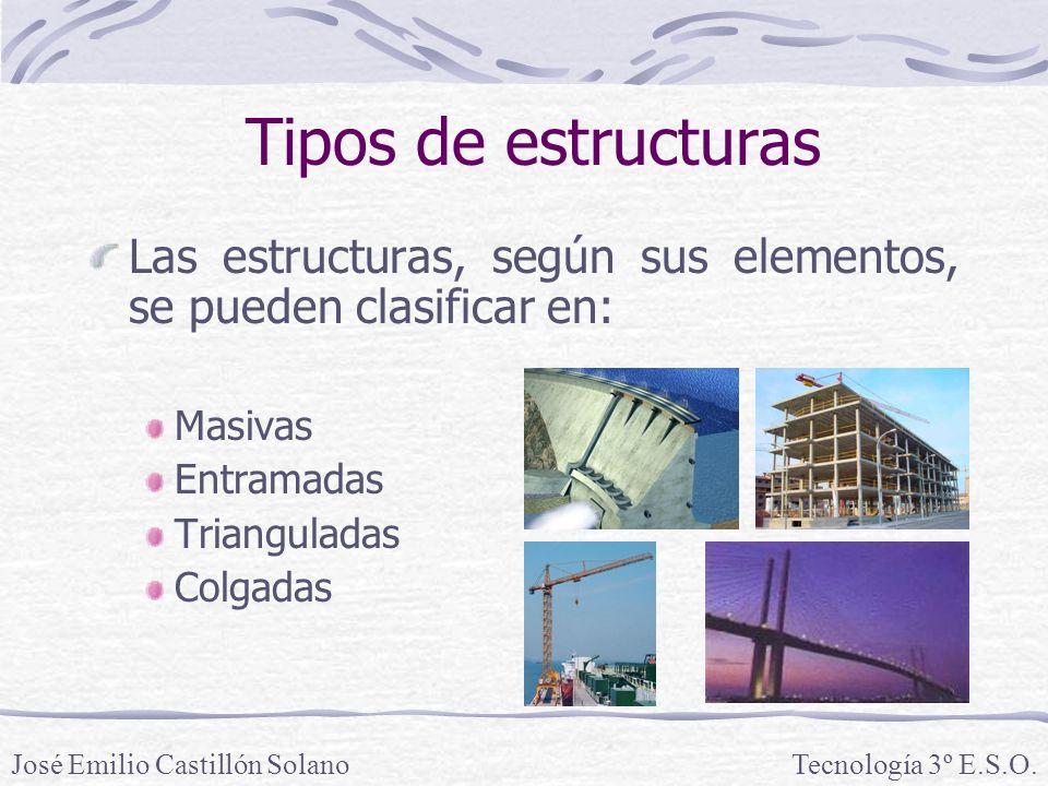 Tipos de estructuras Las estructuras, según sus elementos, se pueden clasificar en: Masivas. Entramadas.