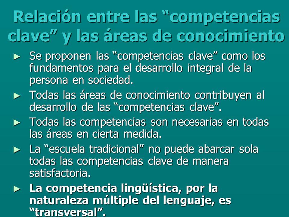 Relación entre las competencias clave y las áreas de conocimiento