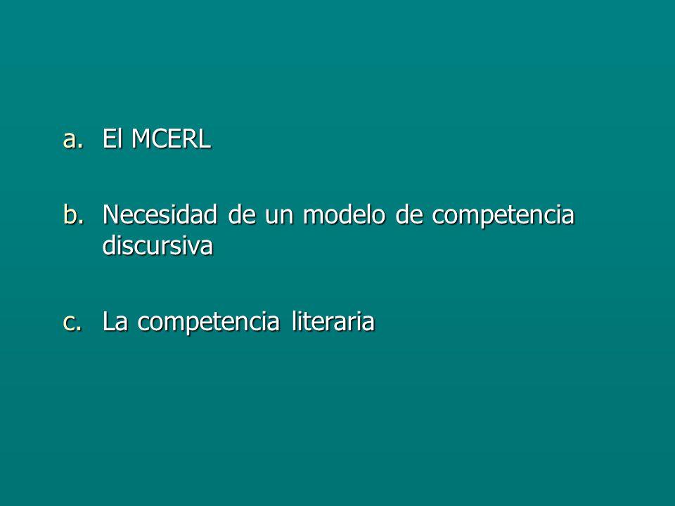 El MCERL Necesidad de un modelo de competencia discursiva La competencia literaria