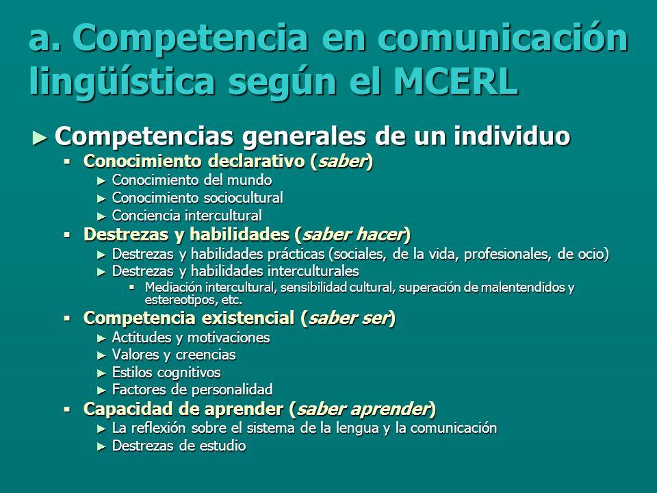 a. Competencia en comunicación lingüística según el MCERL