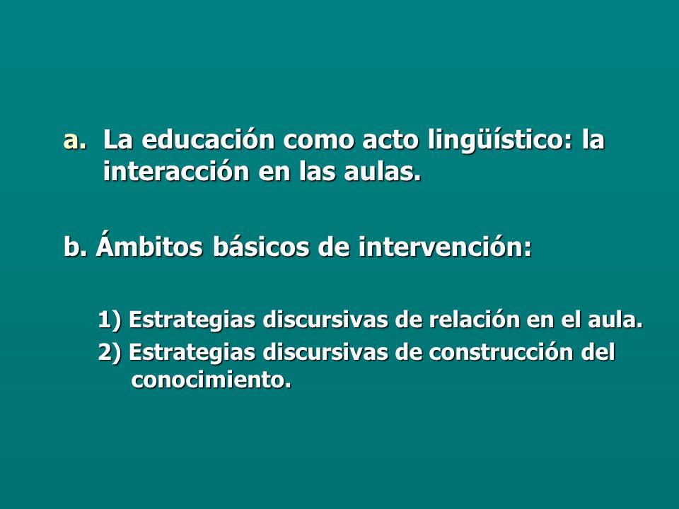 La educación como acto lingüístico: la interacción en las aulas.