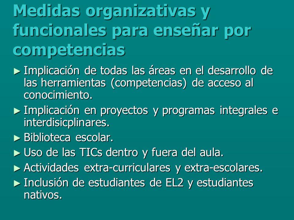 Medidas organizativas y funcionales para enseñar por competencias