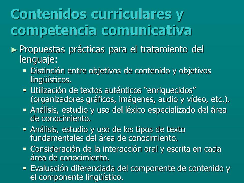 Contenidos curriculares y competencia comunicativa