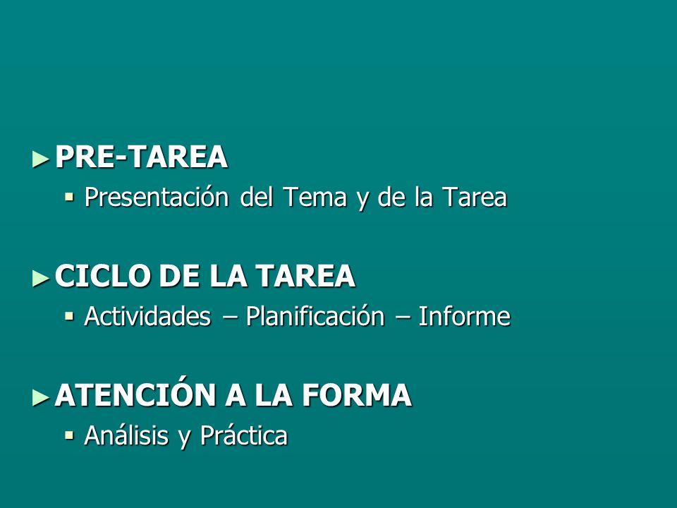 PRE-TAREA CICLO DE LA TAREA ATENCIÓN A LA FORMA