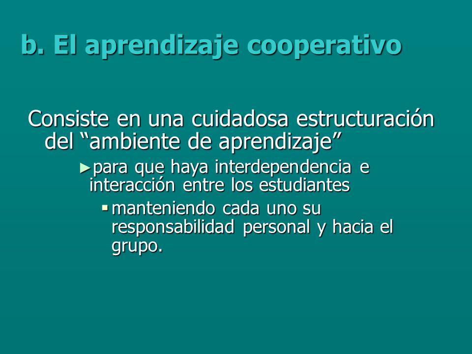 b. El aprendizaje cooperativo
