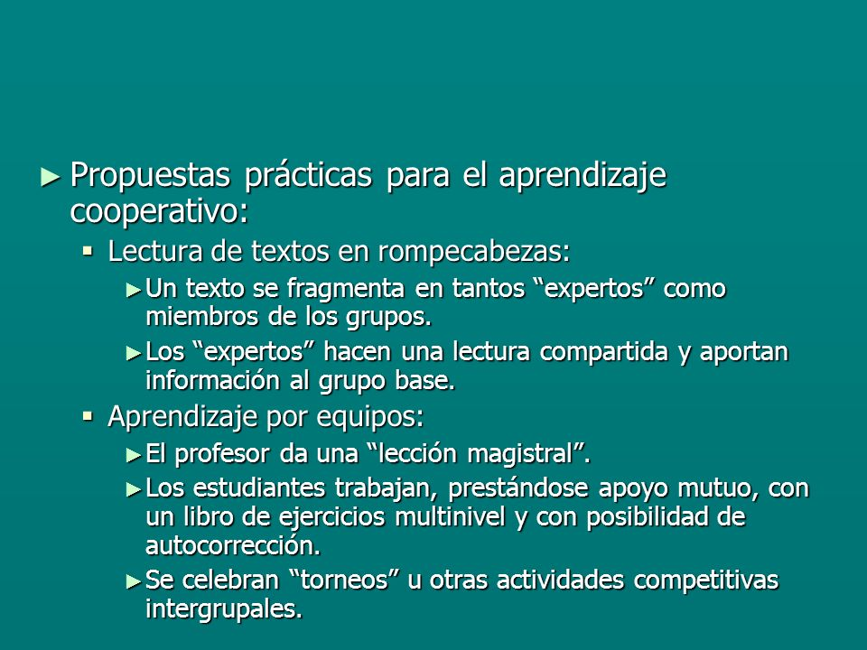 Propuestas prácticas para el aprendizaje cooperativo: